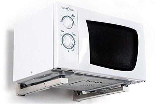 Soporte de pared plegable para horno de microondas, color blanco