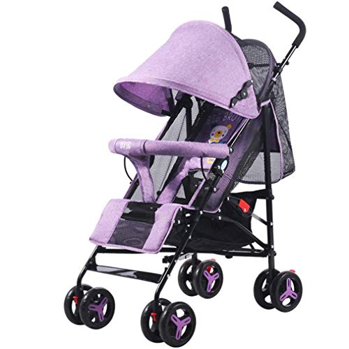 GYPPG Kinderwagen, High Land-Scape Fashion Carriage, stoßfester Allradwagen, Reclining Lightweight Folding, Lila