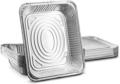 Lot de 10 grandes barquettes jetables en aluminium 32 x 26 cm format GN 1/2 - Pour cuire, rôtir, griller, préparer, conserver, etc