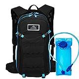 Hwjianfeng Mochila de hidratación de 15L, vejiga de Agua sin BPA de 2L, Mochila de Ciclismo Mochila de Montar Mochila de Bicicleta Transpirable Ligero para Viajar Montañismo,Azul
