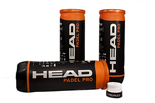 Head Pack DE 3 Botes DE Pelotas Bolas DE Padel Tenis Padel Pro WPT + 1 OVERGRIP Xtreme Perforado Blanco Gratis