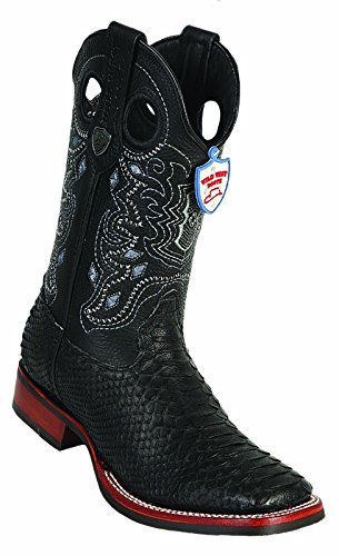 Men's Snip Toe Genuine Python Skin Leather Cowboy Square Toe Western Boots_Black_8.5