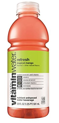 Vitamin Water Refresh Tropical Mango, 20 Ounce (24 Bottles)