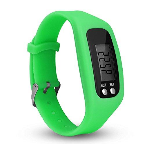 Faderr LCD-Schrittzähler, Armbanduhr, Unisex, zum Laufen, Laufen, Schritt, Kalorienzähler, Lauf-Tracker, Keine App erforderlich, grün, Free Size
