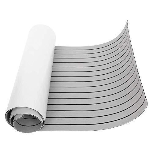 "CHURERSHINING EVA Faux Teak Decking Sheet for Boat Yacht Marine Flooring Mat Non-Slip Mat Self-Adhesive Carpet 35.4"" x94.5"" Light Brown/Grey (Light Grey)"