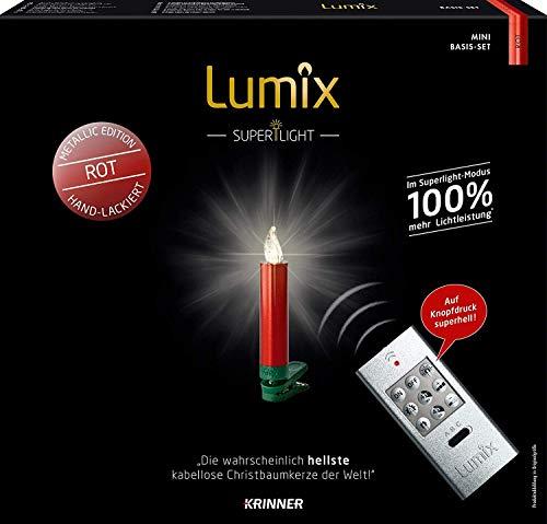 Krinner LUMIX Superlight Mini Metallic, kabellose, von Hand lackierte Power LED Christbaumkerzen, Basis-Set mit 12 Kerzen und IR-Fernbedienung, Rot, Art. 75546, 1.5 x 1.5 x 9 cm