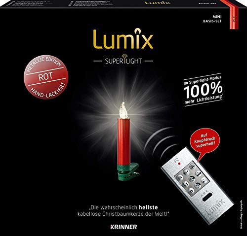 KRINNER LUMIX Superlight Mini Metallic, kabellose, von Hand lackierte Power LED Christbaumkerzen, Basis-Set mit 12 Kerzen und IR-Fernbedienung, Rot, Art. 75546