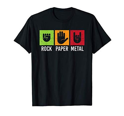 rock paper metal Schere Stein Papier Spiel Hände T-Shirt