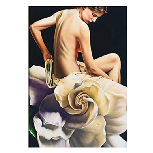wZUN Sexy Mujer Flor Lienzo Pintura Carteles e Impresiones Sala de Estar decoración del hogar Pintura de decoración de Pared 60x90 cm Sin Marco