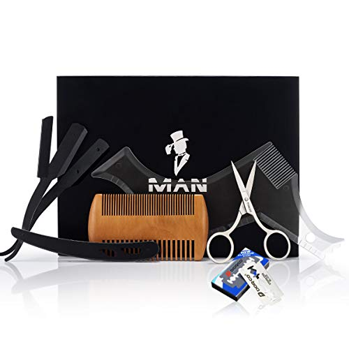 Premium Beard Grooming Kit for Men,Includes professional straight edge razor transparent beard styling template, Anti-static beard comb, 10 Count of double edge blade & Stainless steel scissors