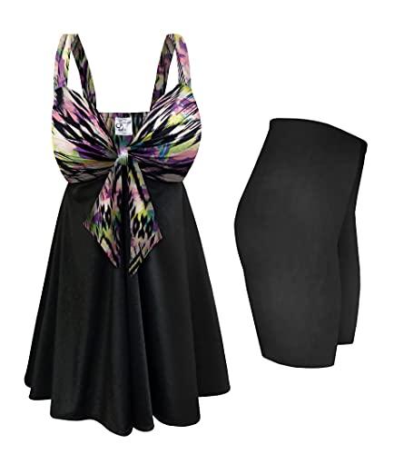 "Plus Size 2-PC Swimsuit Sweetheart Swimdress Aurora Sierra 15"" Shorts 6X"