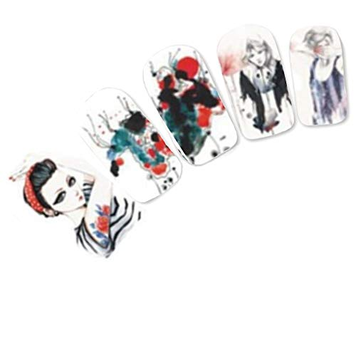 Just Fox – Tattoo Nail Art Autocollants Geisha Anime le Japon Manga Water decall