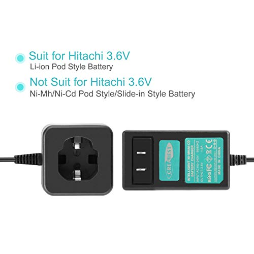 Creabest 3.6V Battery Charger Compatible with Hitachi EBM315 326263 326299 DB3DL DB3DL2 Lithium-ion Batteries