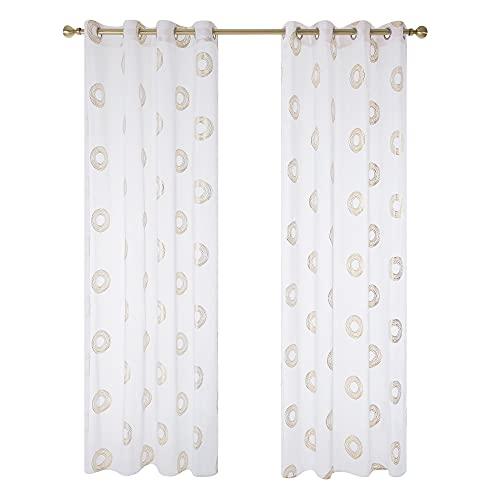 Amazon Brand - Umi Cortinas Habitacion Salon Visillos Translucidas Ventana Dormitorios 2 Piezas Blancas 140x280cm