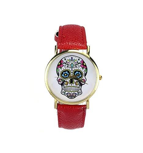 'Armbanduhr Calaveras, Motiv Mexikanische Schädel Multicolor–Armband Kunstleder rot.