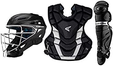 EASTON GAMETIME Baseball Catchers Equipment Box Set | Intermediate | Black | 2020 | Large Helmet | 16 in Chest Protector + Commotio Cordis Foam| 15.5 in Leg Guards | Steel Cage | NOCSAE Approved