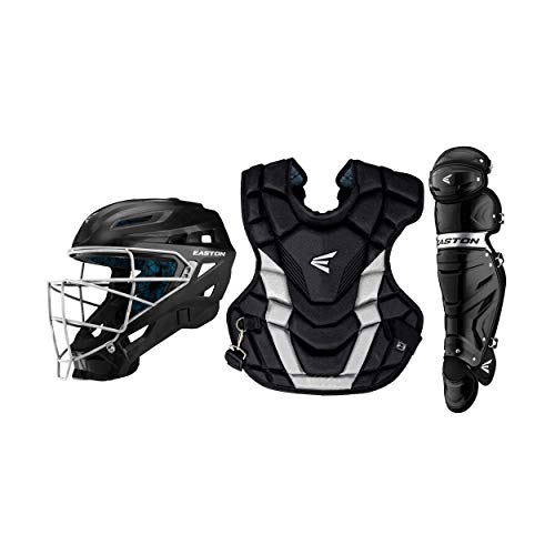 EASTON GAMETIME Baseball Catchers Equipment Box Set | Adult | Black | 2020 | Large Helmet | 17 in Chest Protector + Commotio Cordis Foam | 16.5 in Leg Guards | Steel Cage | NOCSAE Approved All Levels