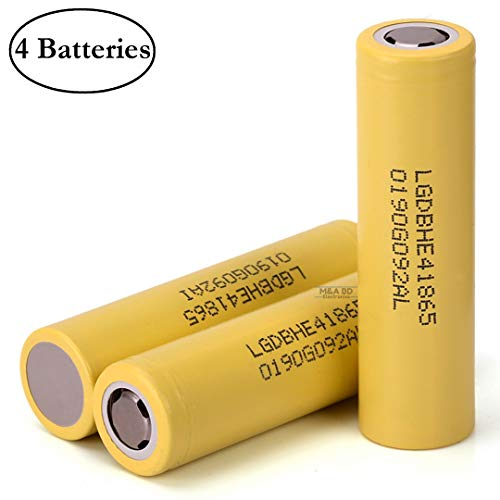 M&A BD 4 Pack of 2500mAh, 20A, Yellow-HE4, Rechargeable, Replacement for Flat Top, 18650-Battery, for LED Flashlight, Power Bank