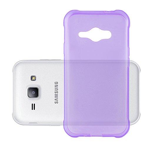 Cadorabo Funda para Samsung Galaxy J1 Ace en Transparente Lila - Cubierta Proteccíon de Silicona TPU Delgada e Flexible con Antichoque - Gel Case Cover Carcasa Ligera
