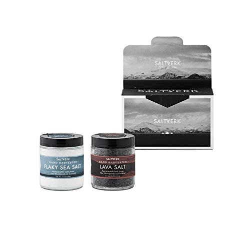 Saltverk Lakritz-Salz & Lava-Salz Geschenkbox (Meersalz-Kristalle aus Island, 2 Gläser à 90g)