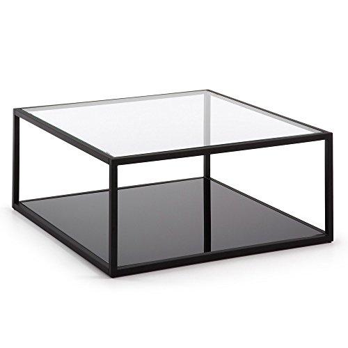 Kave Home - Mesa de Centro Blackhill Negra Cuadrada 80 x 80 cm de Cristal Templado y Estructura de Acero