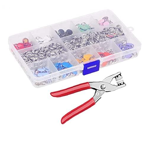 Yililay Botón 200PCS Ojal Kit de Herramientas de Ojos Color Hueco Cinco Prong Snap botón Set para los niños del bebé Ropa de Costura y de artesanía