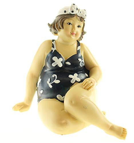 Figur Dame im Badeanzug mit Kopftuch mollige Frau Dicke Badenixe Sommerdekofigur Lady Rubens Maritimdekofigur Schwimmerinfigur