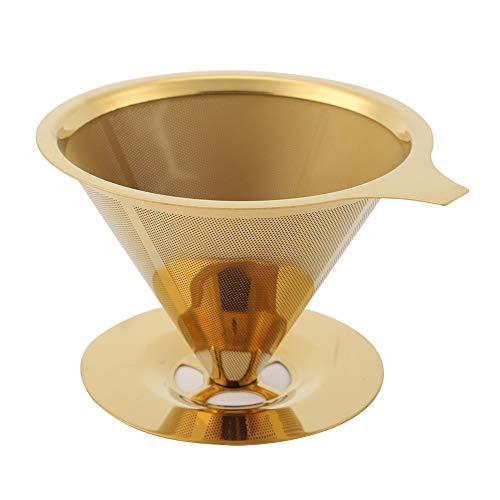Gießen Sie über Kaffeetropfer, Edelstahl-Kaffeefilter Tee-Kaffeetropfer mit Titan-Gold-beschichtetem, wiederverwendbarem, zweischichtigem Kaffeegitter-Siebtrichter für Kaffeekanne