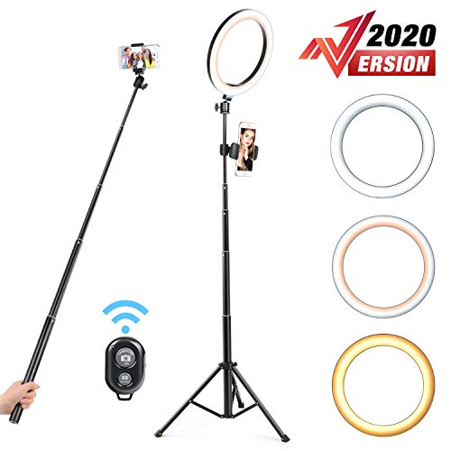 Yesker 10.2' Selfie Ring Light Dimmable with Tripod Stand Cell Phone Holder Mini Led Camera Ringlight for Live Streaming Makeup YouTube Video Photography Compatible iPhone Android Remote Control