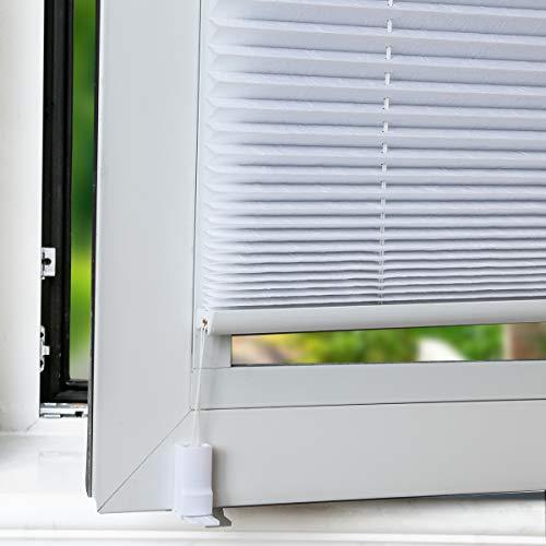 OUBO Plissee Klemmfix Faltrollo ohne Bohren Jalousie mit Klemmträger (Weiß, B40cm x H120cm) Blickdicht Sonnenschutz und Sichtschutz Rollo für Fenster & Tür - 2