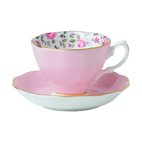 Royal Albert 8704025870 New Country Roses Teacup, Saucer and Plate Set, Rose Confetti ,3-Piece