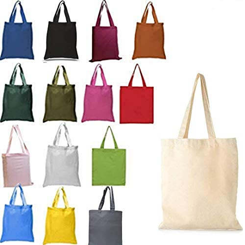(Pack of 15) Multicolors Reusable Cotton Canvas Tote Bags, 15x16 6 Oz. Useful as Cotton Grocery Tote Bag, Shopping Tote Bag, Travel Tote Bag (15 Mix Multicolors, 15pcs 15'w x 16'h)