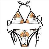 zhkx Bikini Turkey Pattern Bikini Set Two Piece,Triangle Padded Cut out Swimsuit for Ladies Swimming Costume