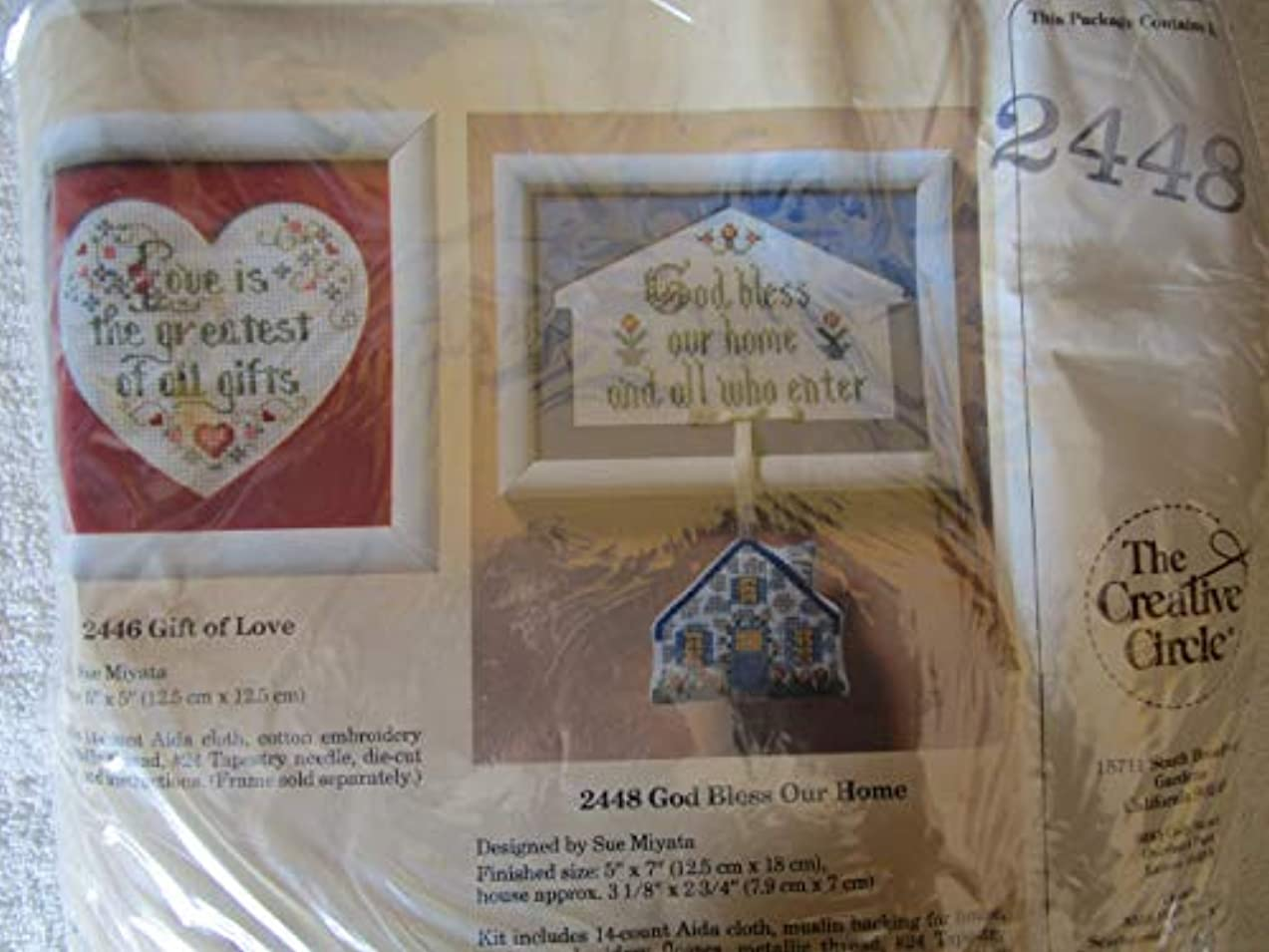 (USA Warehouse) God Bless our Home and All Who Enter #2448 - 1988 Cross Stitch Kit; House and Frame / ? Designed by Sue Miyata. ? Finished size of Framed House: 5