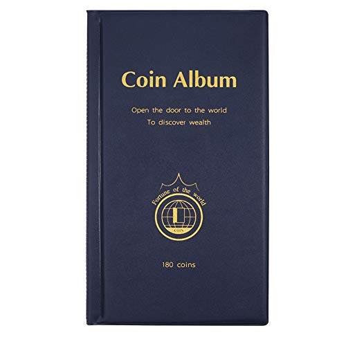 MULOVE 180 tasche raccoglitore di monete, raccoglitore di monete da 50p, adatto per monete di diametro inferiore a 1,66 pollici (blu)