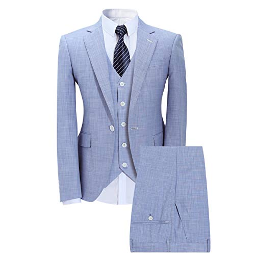 Mens 3 Piece Elegant Suit Set Dress 1 Button Dinner Blazer Tux Jacket Vest Pants Light Blue