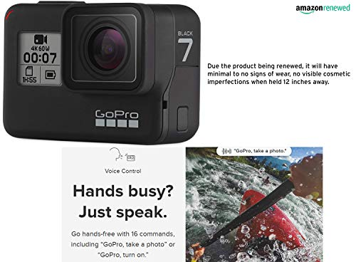 Gopro hero7 black waterproof digital action camera with touch screen 4k hd video 12mp photos live streaming… 2 this certified refurbished product is tested and certified to look and work like new. The refurbishing process includes functionality testing, basic cleaning, inspection, and repackaging. The product ships with all relevant accessories, a minimum 90-day warranty, and may arrive in a generic box. Only select sellers who maintain a high performance bar may offer certified refurbished products on amazon. Com