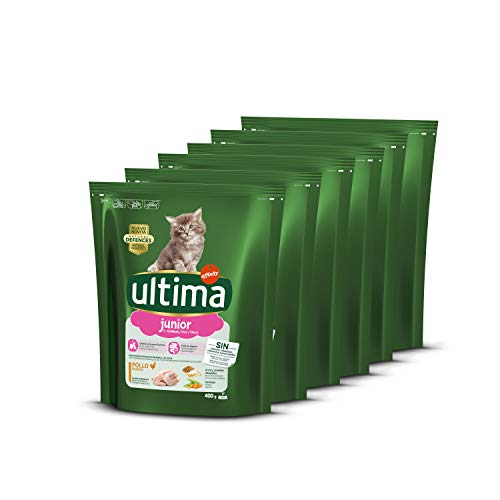 ultima Pienso para Gatos Junior de 2 a 12 Meses con Pollo, Pack de 6 x 400 gr - Total 2.4 kg
