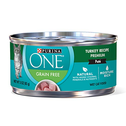 Purina ONE Natural, High Protein, Grain Free Pate Wet Cat Food; Turkey Recipe - (24) 3 oz. Pull-Top Cans