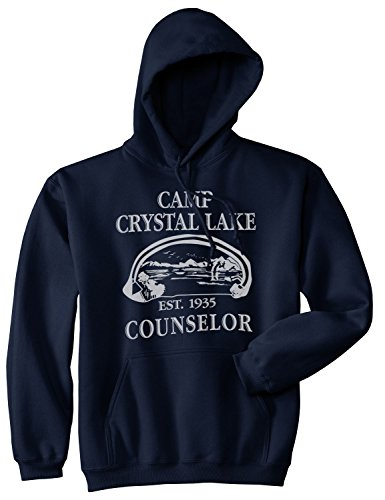 Crazy Dog Tshirts - Camp Crystal Lake Sweater Funny Shirts Camping Vintage Horror Novelty Hoodie (Navy) M - Homme