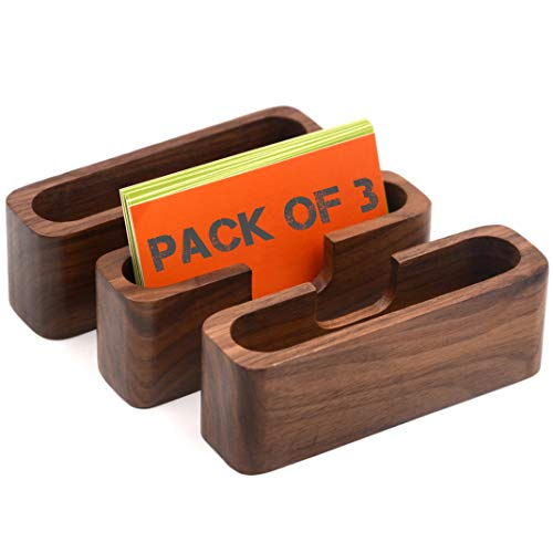 Bamber 3-Pack Walnut Wood Business Card Holder for Desk Wooden Business Card Organizer Case Stand