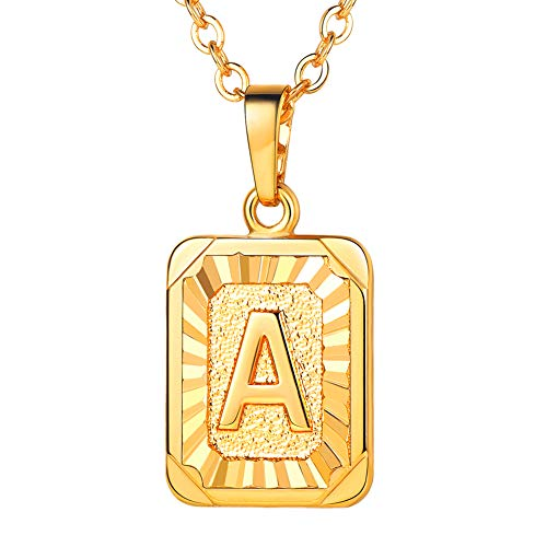 U7 Monogram Necklace Gift for Women 18K Gold Plated Square Script Initial Jewelry Letter Pendant (Letter A)