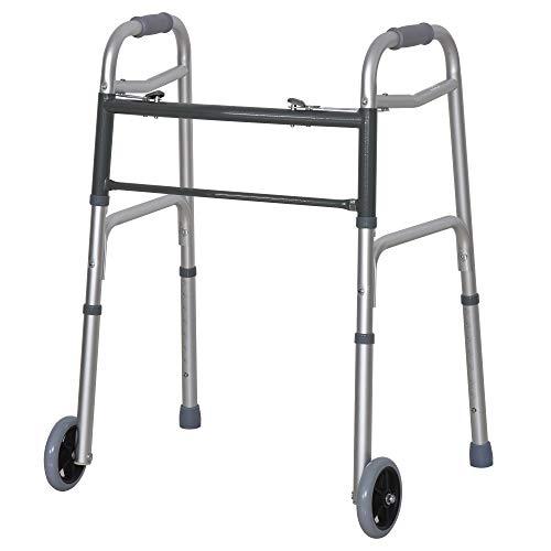 HOMCOM Andador para Ancianos Caminador Plegable con Altura Ajustable Almohadillas de Pies Marco de Aleación de Aluminio 64x50x77-95 cm Plata