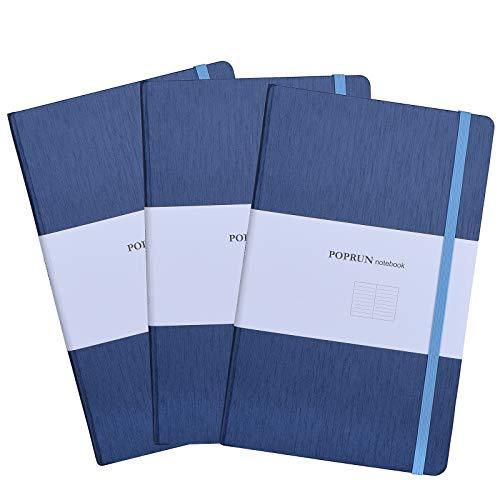 POPRUN Cuaderno/Libreta a Rayas A5 Tapa Dura - Papel 80 gsm, 192 páginas, 21 x 13 cm, Azul (Pack de 3 unidades)