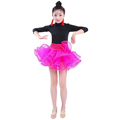 XFentech Enfant Filles Danse Vêtements À Manches Longues Tutu Danse Latine Robe Performance Compétition Pratique Costume, Style-2/120
