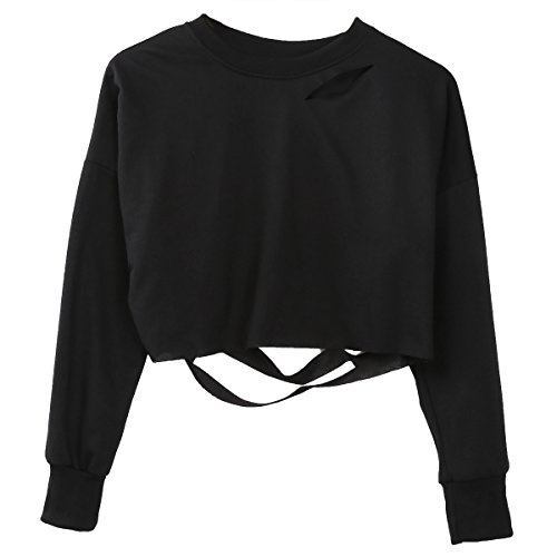 Queen Center Damen Mädchen Hoodie Long Sleeve Loch Pullover Pullover Pullover Oberteilen (EU 34, Schwarz)