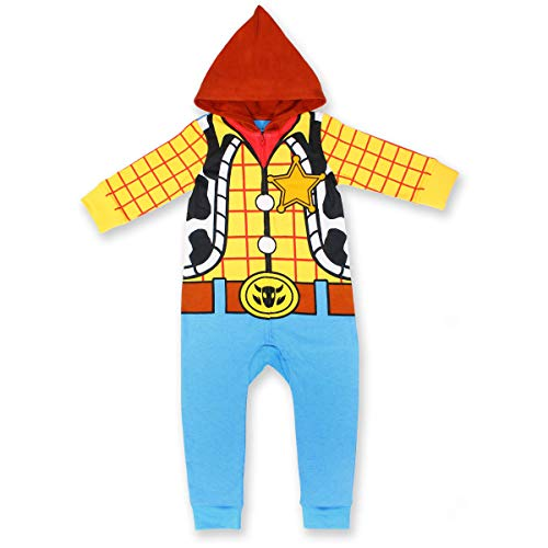 Disney Toy Story Boy's Woody Hooded Coverall Onesie, 100% Cotton, Yellow, Size 18M