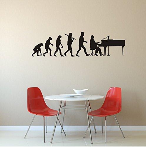 Wandtattoo - Evolution Pianist - Klavier - Musik - Instrument - Klavierspieler (M070 Schwarz, 1200 mm x 320 mm)