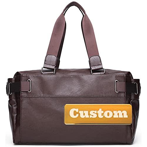 Nombre personalizado Viaje de bolso de lona de cuero para hombres Pernoctady Duffle para hombres (Color : Shenzongse, Size : One size)