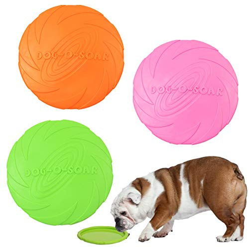 ZXT 3 Pcs Dog Frisbee,Pet frisbee,Silicone Pet Dog Frisbee,18 cm / 7 Inch Dog Flying Disc Pet Flying Saucer Very Suitable for Dog Training, Throwing, Catching and Playing
